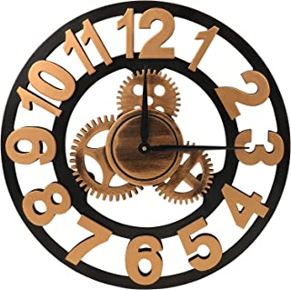 MEISTAR Vintage Golden Large Decorative Wood Gear Wall Clock,14 Inch Big Arabic Numerals Silent Noiseless 3D Open Gear Clocks for Farmhouse,Coffee bar