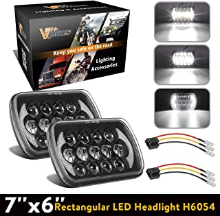 2Pcs 5x7 Led Headlights 7x6 Led Sealed Beam Headlights with Angel Eyes DRL High Low Beam C4 Corvette H6054 6054 Led Headlight Compatible with Jeep Wrangler YJ Cherokee XJ H5054 H6054LL 6052 6053