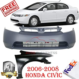 Front Bumper Cover & Fender Kit for 2006 - 2008 Honda Civic 4-Door Sedan with Emblem Provision Without Molding Holes & License Plate Provision Right Hand Side Primed OE Replacement HO1241168 HO1000239