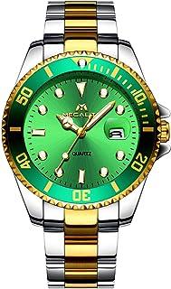 MEGALITH Relojes Hombre Acero Inoxidable Oro Reloj de Pulsera Moda Impermeable Fecha Calendario Clásicos Diseño Analogicos Reloj de Cuarzo para Hombres Unisexo Negocio Casual