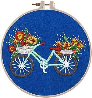 Handmade Embroidery Cross Stitch Circle Flower Pattern Art Craft Hand Sewing Gift Home Decor,B,Plastic Hoop Kits