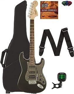 Fender Squier Affinity Stratocaster HSS - Montego Black Metallic Bundle with Gig Bag, Tuner, Strap, Picks, and Austin Baza...