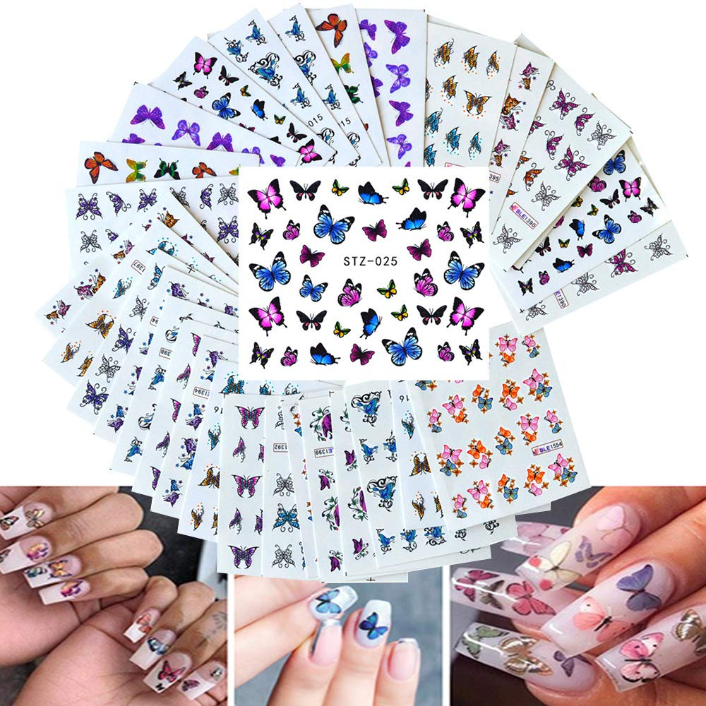 Macute 30 Sheets Butterfly Nail sale Quality inspection Butt Sliders Art Polish Stickers