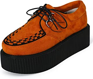Womens Creepers Suede Platform Flats Oxford Punk Casual Shoes