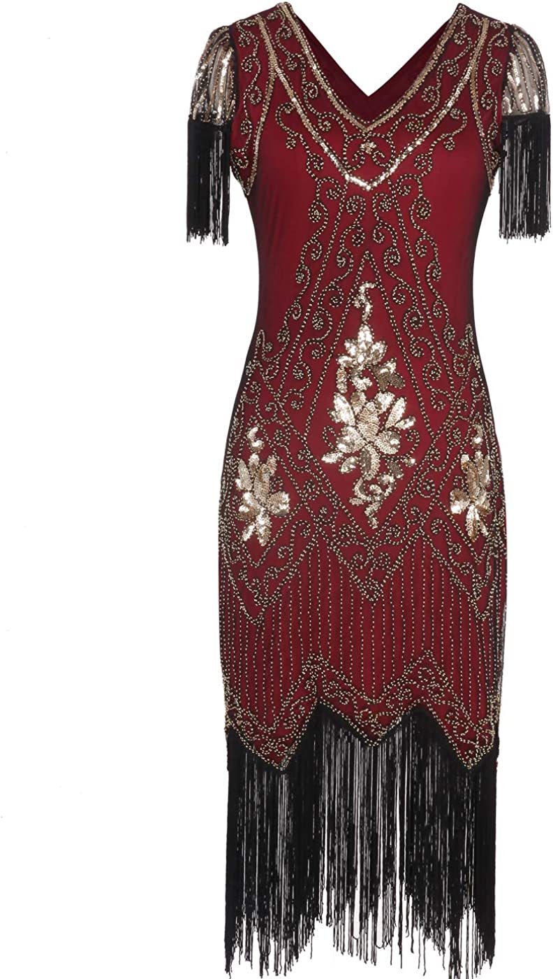MISSCHEN 1920er Damen Gatsby Pailletten Quasten Saum Cocktail Flapper Abschlussball Kleid