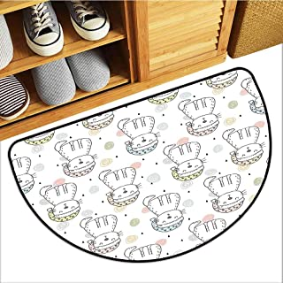 Printed Door mat Doodle Sleepy Cat Colorful Hats Night Time Good Night Cute Animals Breathability W36 xL24 Baby Blue Light Pink Light Yellow