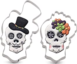 LILIAO Halloween Skull Cookie Cutter Set - 2 Piece - Skull with Hat and Flowers Fondant Biscuit Cutters - Stainless Steel