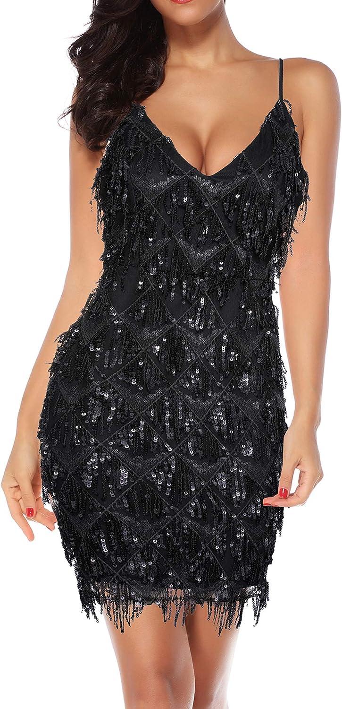 Houstil Women's V Neck Sequin Glitter 1920s Inspired Fringed Flapper Club Prom Party Dress