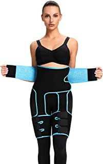 FLYWIND 3-in-1 Waist Trainer for Women, Waist Thigh Trimmer Butt Lifter Body Shaper Strap Sweat Band for Workout, Home Exe...