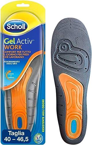 Scholl Gel Activ Work Semelles de Travail pour Hommes, 40-46,5 EU, 1 Paire, Modèles Assortis et Couleurs