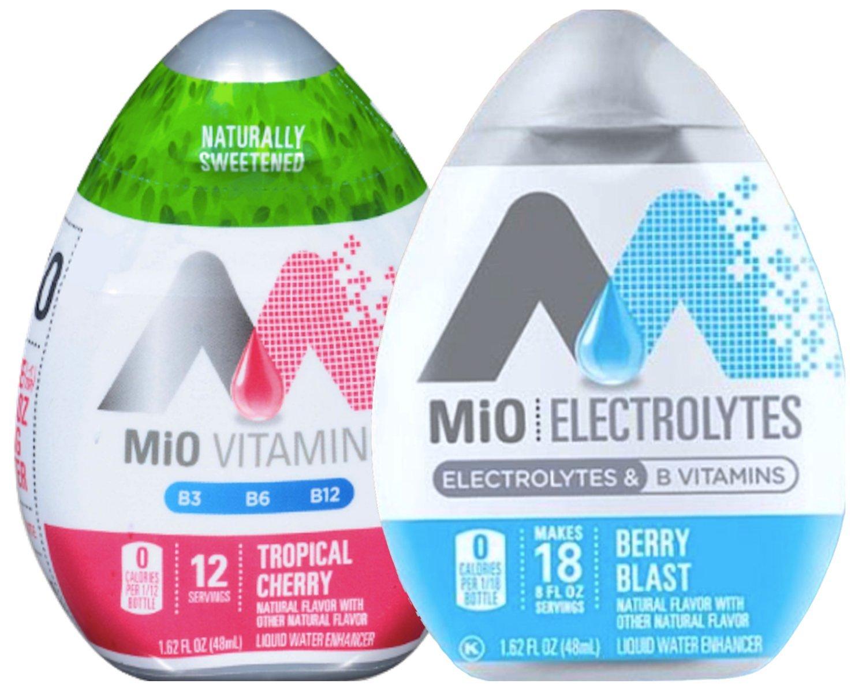 Mio Vitamins Tropical Cherry & Mio Electrolytes Berry Blast B Vitamins Liquid Water Enhancer 1.62 Fl Oz (2)