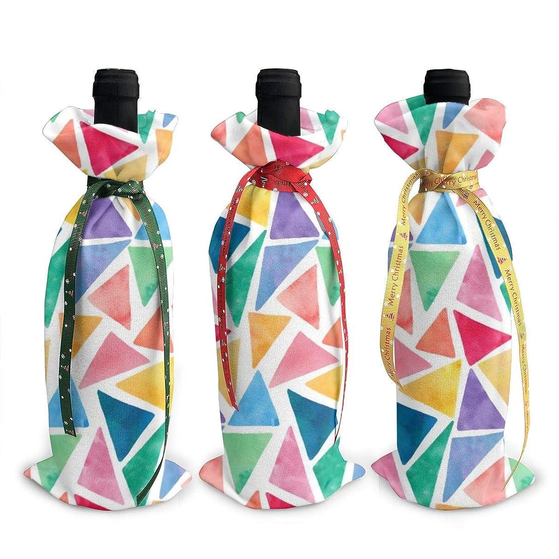 交じる兄に勝るワインバッグ クリスマスボトルカバー カラフルな水彩 幾何柄 スクエア シャンパンワインボトル3本用 12 X 34cm ワイン収納 3個ーテーマ ボトル装飾 ワインボトル用 かわいいドレス 3種類のデザイン ギフトバッグ 保管用 ギフトパッケージ