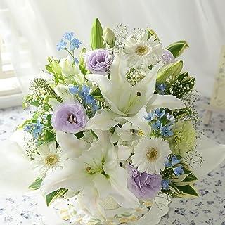 BunBunBee 旬のおまかせアレンジ「ホワイト&ブルー~リリー~S」【マケプレお急ぎ便】