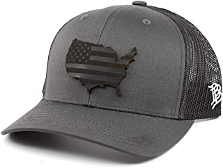 Branded Bills 'Midnight Patriot' Dark Leather Patch Hat Curved Trucker - One Size Fits All