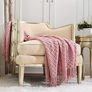 CREVENT Light Blush Pink Knit Throw Blanket for Couch Sofa Chair - Soft and Decorative for Spring Summer (50''X60'' Dusty ...
