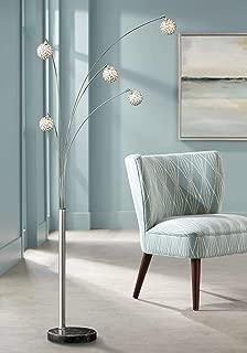 Allegra Mid Century Modern Arc Floor Lamp 5-Light Chrome Marble Base Crystal Ball Shades Foot Dimmer for Living Room - Possini Euro Design