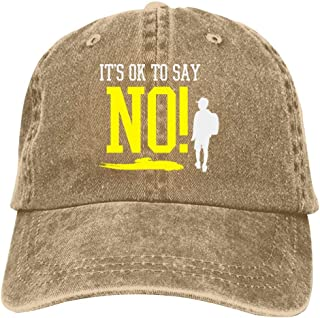 LeoCap It's OK to SAY NO Baseball Cap Unisex Washed Cotton Denim Hat Adjustable Caps Cowboy Hats