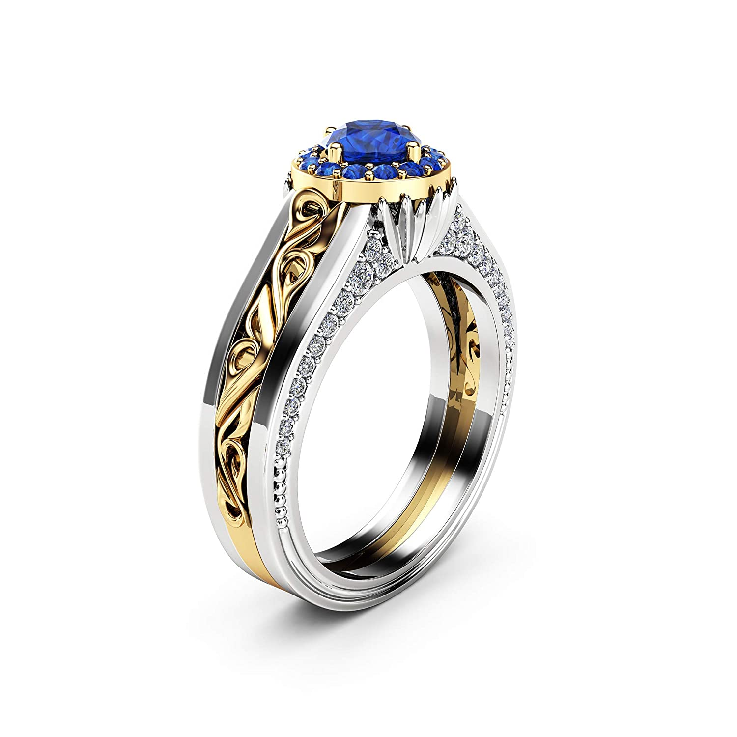 Halo low-pricing Sapphire Clearance SALE! Limited time! Engagement Ring 14K Yellow Vintag Solid Gold White