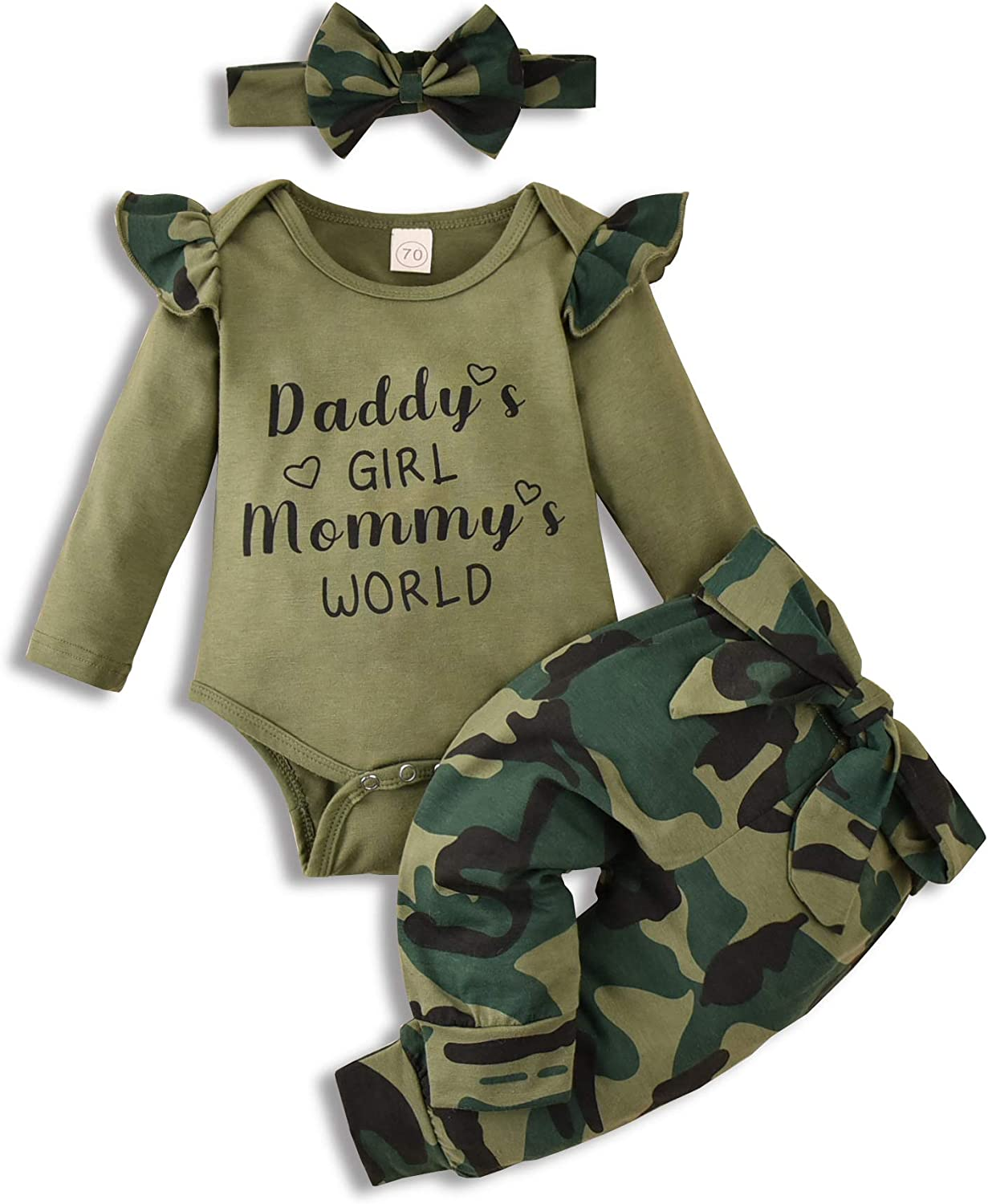 Baby Girls Long Sleeve Ruffle Bodysuit Pants Headband Infant Onesie Outfit Toddler Winter Spring Clothes Set 3 Pcs