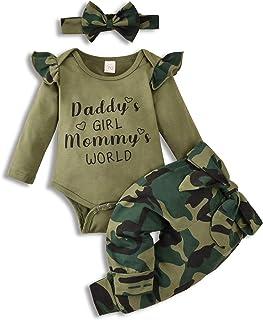 Baby Girls Long Sleeve Ruffle Bodysuit Pants Headband...