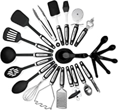 Kitchen Utensils Sets 26 Pieces – Stainless Steel And Nylon Cooking Tools Spoons, Turners, Tongs, Spatulas, Pizza Cutter, ...