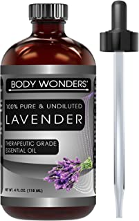 Body Wonders 100% Pure Lavender Essential Oil - 4 oz Bottle - Finest Quality Therapeutic Grade Essential Oils – Ideal For Aromatherapy