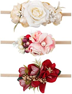 Oaoleer Baby Girl Floral Headbands Set - 3pcs Flower...