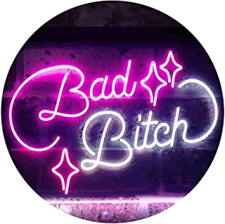 Bad Bitch Room Display Bar Dual Color LED Neon Sign White & Purple 400 x 300mm st6s43-i3522-wp