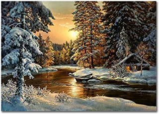 LIUDAO Sunset Valley DIY Oil Painting - with Brushes and Arylic Pigment - 16x20 Inch Paint by Number for Adults Kids Snow Scene Landscape (Frameless)
