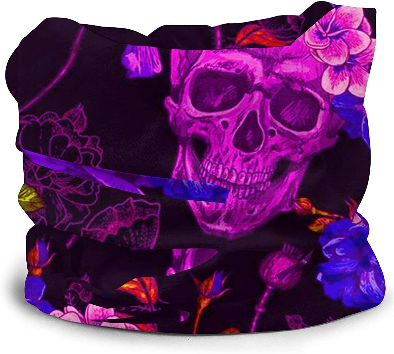 Neck Gaiter Purple Psychedelic Mexican Sugar Skulls Day Of The Dead Floral Flowers Face Mask Reusable, Cloth Face Masks Washable Bandana Face Mask, Sun Dust Protection Cover Balaclava Scarf Shield