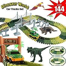 Dinosaur Tracks, Electric Car Toy, 144 Piece Train Tracks for Kids, Dinosaur Toy, Race Tracks Play Set, 3 4 5 6 7 8 9 10 1...