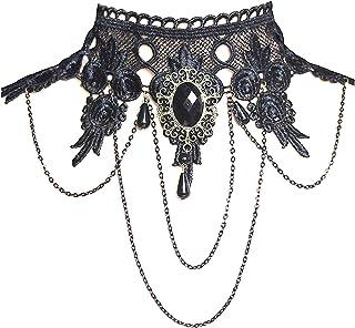 comprar comparacion Ouinne Joyería de Collar de Cristal Gargantilla de Encaje Borla Gótico del Cordón Cadena para Fiesta de Boda, Negro