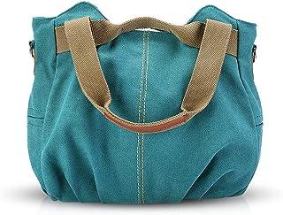 NICOLE & DORIS Canvas Tasche Damen Tragetaschen für Damen Schultertaschen Umhängetasche Leinwand Handtasche Mädchen Blauer...