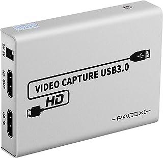 PACOXI キャプチャカード 1080P 60FPS USB3.0 HDMIゲームキャプチャカード HDMIパススルーサポート HDビデオ Windows 7 8 10 Mac Lunix OBS Twitch PS5 PS4 PS3 Xbo...