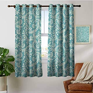 PRUNUSHOME Blooming Branches Scroll Ultra Soft Kitchen Curtains, Kitchen Cafe Curtains Half Window Treatments Home Fashion Drapes for Small Windows(Set of 2 Panels,42 by 54 Inch)