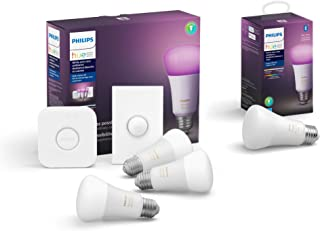 Philips Hue White and Color LED Smart Button Starter Kit with Philips Hue White and Color Ambiance A19 LED Smart Bulb