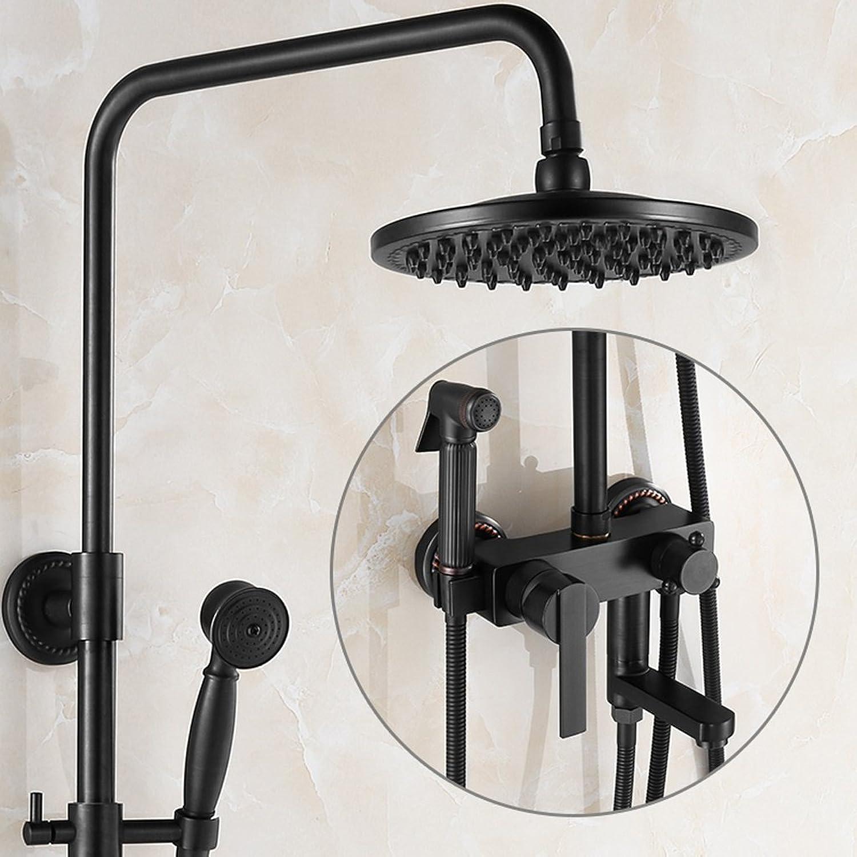 European Style schwarz Retro Dusche Set Alle Bronze Hot und Cold Hahn Druck Spritzpistole