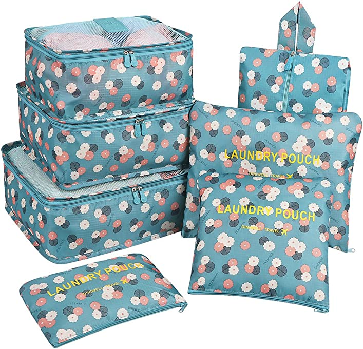 Mossio 7 Set Packing Cubes with Shoe Bag - Travel Carry On Luggage Organizer Blue Flower