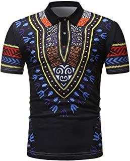 Mens African Printed Polo Shirt, Casual Fashion Slim Fit Short Sleeve Muscle Tee Tops Blouse