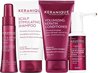 Keranique Hair Regrowth System – 30 Days | Keratin Complex, Free of Sulfates, Dyes and Parabens | Shampoo & Conditioner, Minoxidil, Lift and Repair Treatment Spray