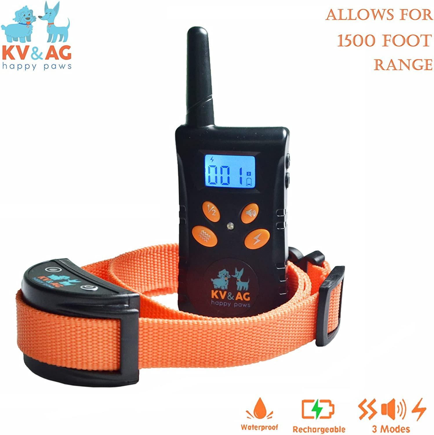 KAVLOV KV & AG Happy Paws Dog Training with Remote 1500 ft Waterproof & Rechargeable 3 Functional Modes Static Shock  Vibration  Sound for Most Small Medium Large Sized Dogs Easy & Simple to Use.