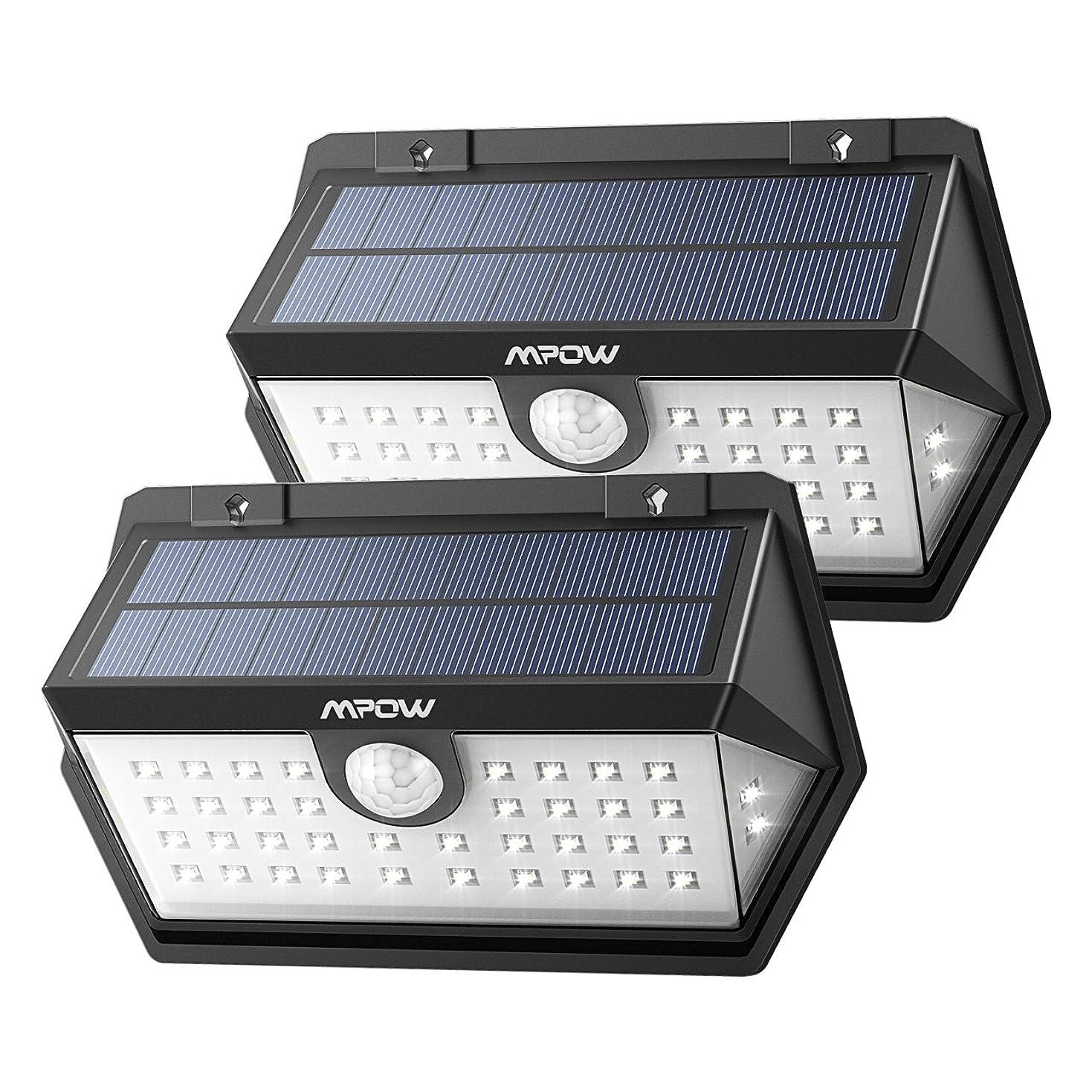 減少いとこ一般的なMpow センサーライト ソーラーライト 40led IP65防水 3つ点灯モード 屋外照明 センサー時間30s 人感ライト 18ヶ月間保証 停電緊急対策 2019年新品 2個