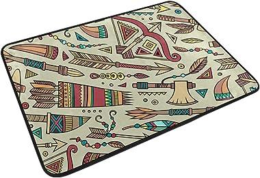MASSIKOA Tribal Native Ethnic Non Slip Backing Entrance Mat Floor Mat Rug Indoor Outdoor Front Door Bathroom Mats 23.6 x 15.7
