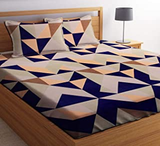 HIYANSHI HOME FURNISHING Glace Cotton King Size Trangle Design Double Bedsheet 180 TC with 2 Pillow Covers
