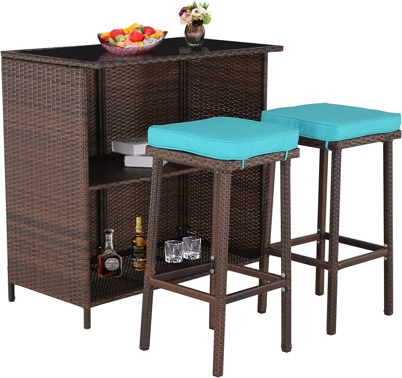 Do4U 3 Pieces Patio Bar All-Weather Set Super Max 47% OFF sale period limited Wicker Table Outdoor