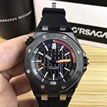 Luxury Brand Stainless Steel Black Color Orange in dial Automatic Movement Rubber Strap Diver's Oak Watch Watches