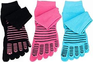 LHKJ, LHKJ 3 Pares Calcetines de Dedos Antideslizantes de Algodón Mujeres para Pilates Yoga Fitness Danza Gimnasio Deportes Gimnasio ect