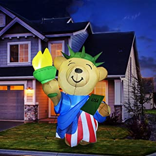 GOOSH 6 ft Tall Patriotic Independence Day Inflatable American Bear with Torch and USA Book Blowup Inflatables with Build-...