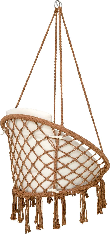jard/ín Sillon Colgante Carga hasta 125 kg Silla Hamaca Colgantes para Interior y Exterior Compartimento para Libros y Funda Gris Silla Colgante con Coj/ín VITA5 Porta-Vasos