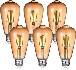 4W E27 Edison Bombilla Vintage, Blanco Cálido 2700K E27 Bombillas LED Filamento, No Regulable, Equivalente Incandescente de 30W 40W, E27 Bombillas LED Vintage AC220-240V, Paquete de 6